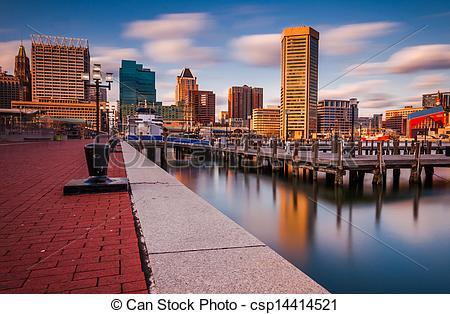 Clip Art of Baltimore Skyline and Promenade.