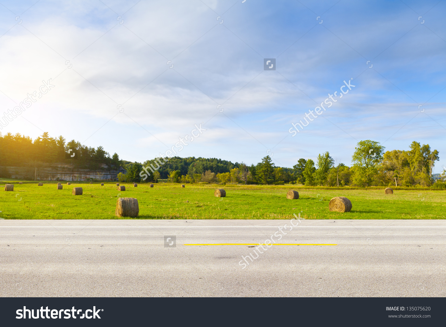 American Country Road Side View Stock Photo 135075620.