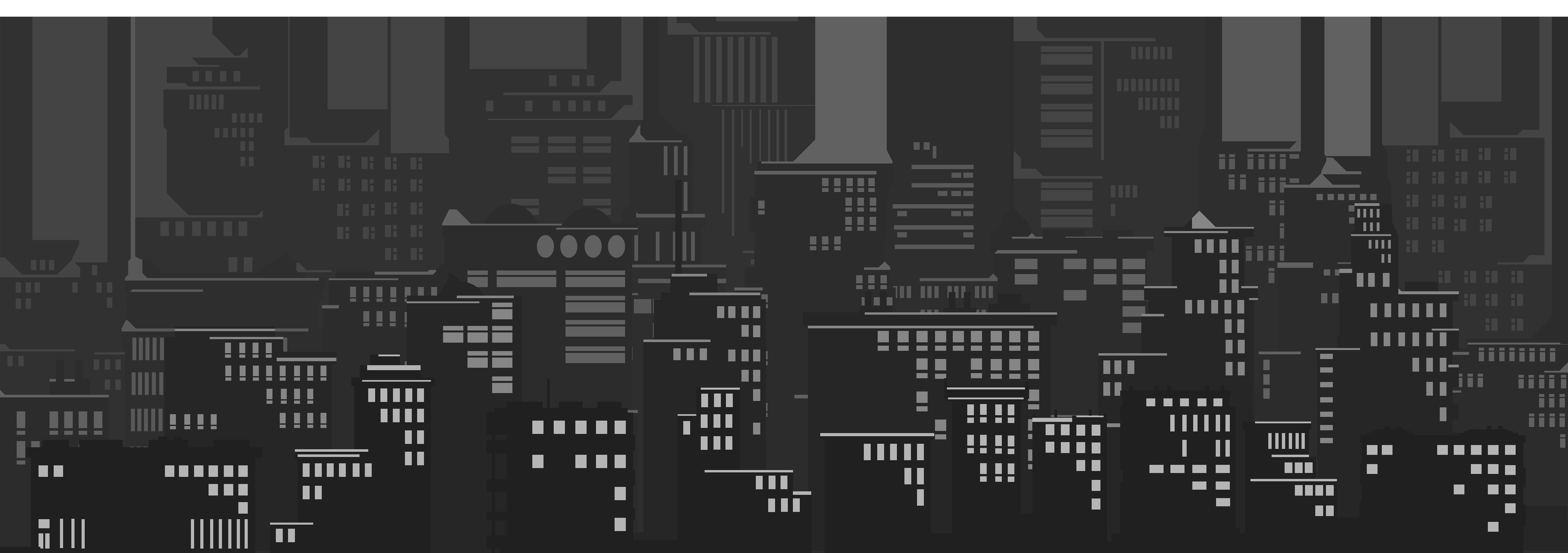 Cityscape Silhouette Clip Art Image.