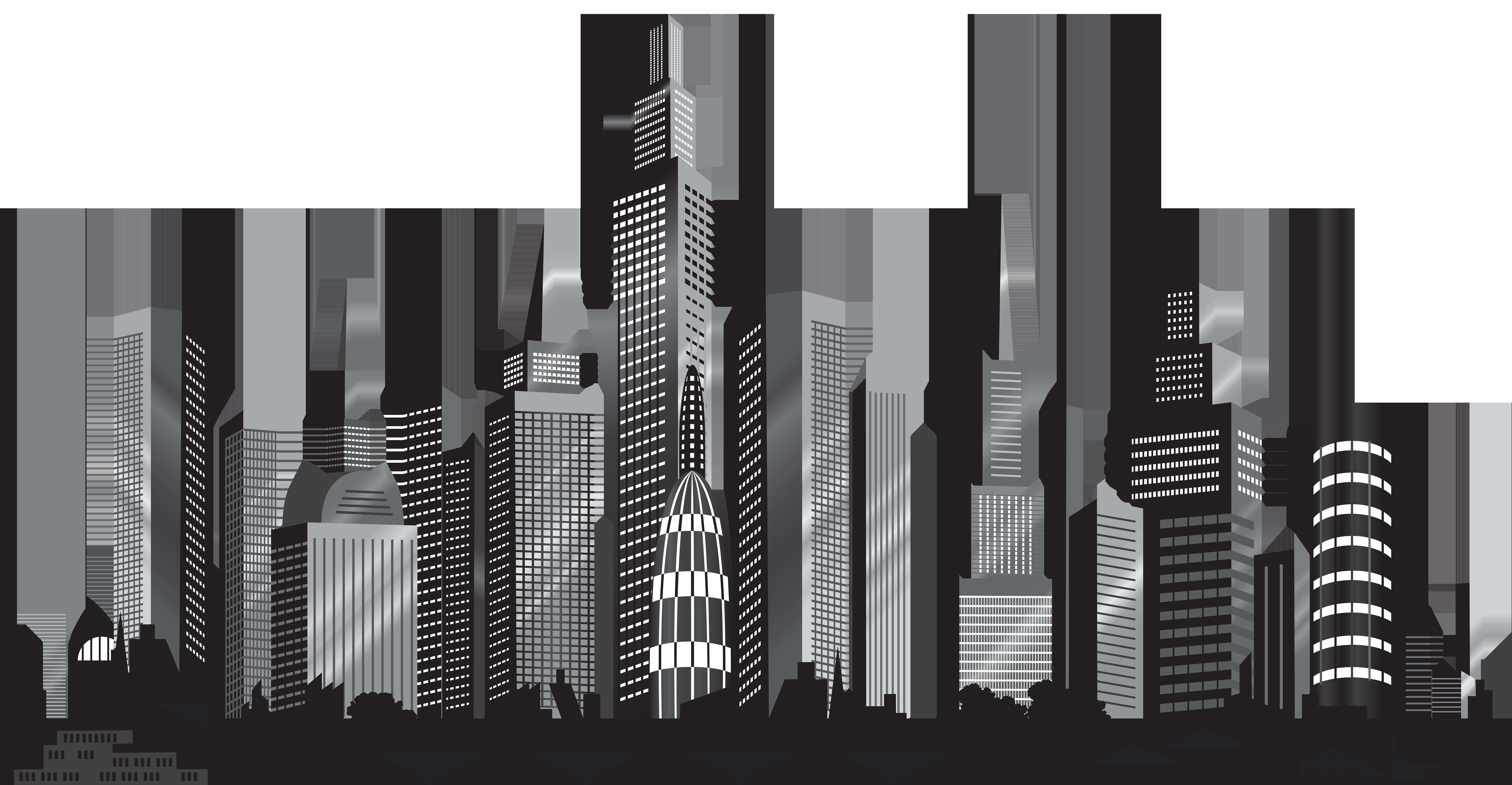 Cityscape Silhouette PNG Clip Art Image.