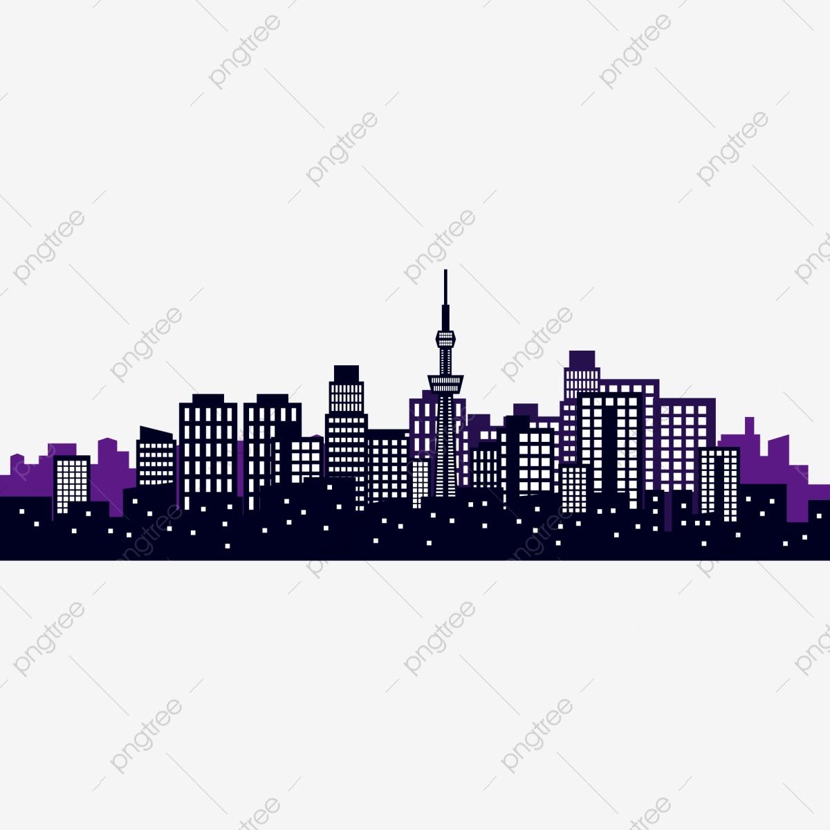 City City Silhouette Cartoon Hand Drawn City High Rise Building.