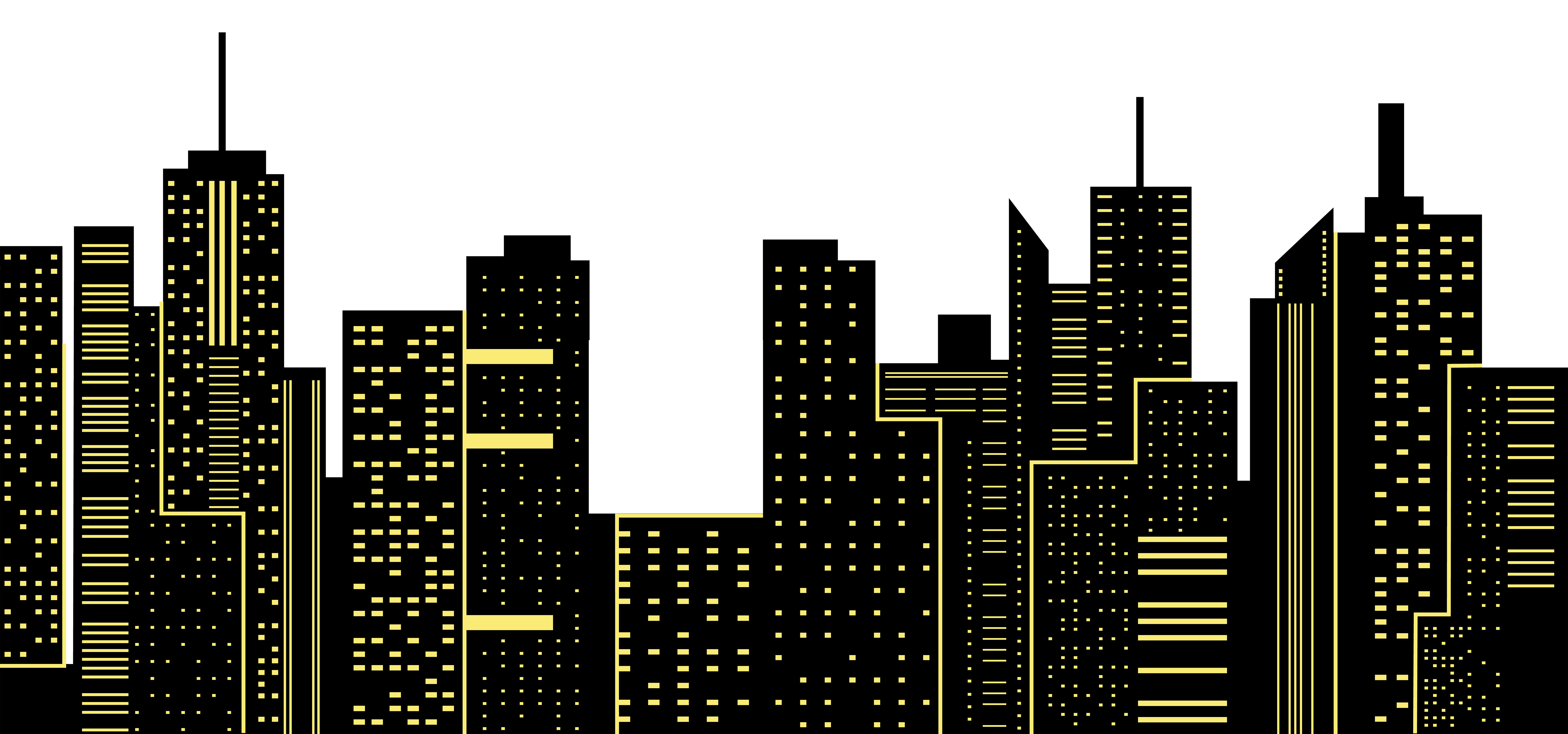 Night City Silhouette PNG Clip Art Image.