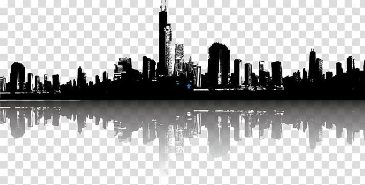 Silhouette of buildings, Cityscape Skyline Illustration, city.