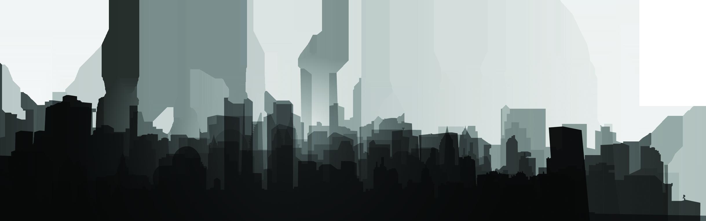 Black and white Skyline Silhouette Skyscraper.