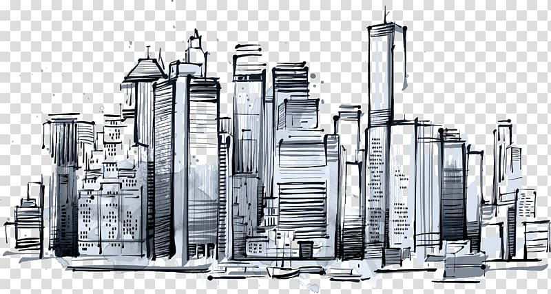 City buildings illustration, Manhattan Skyline New York.