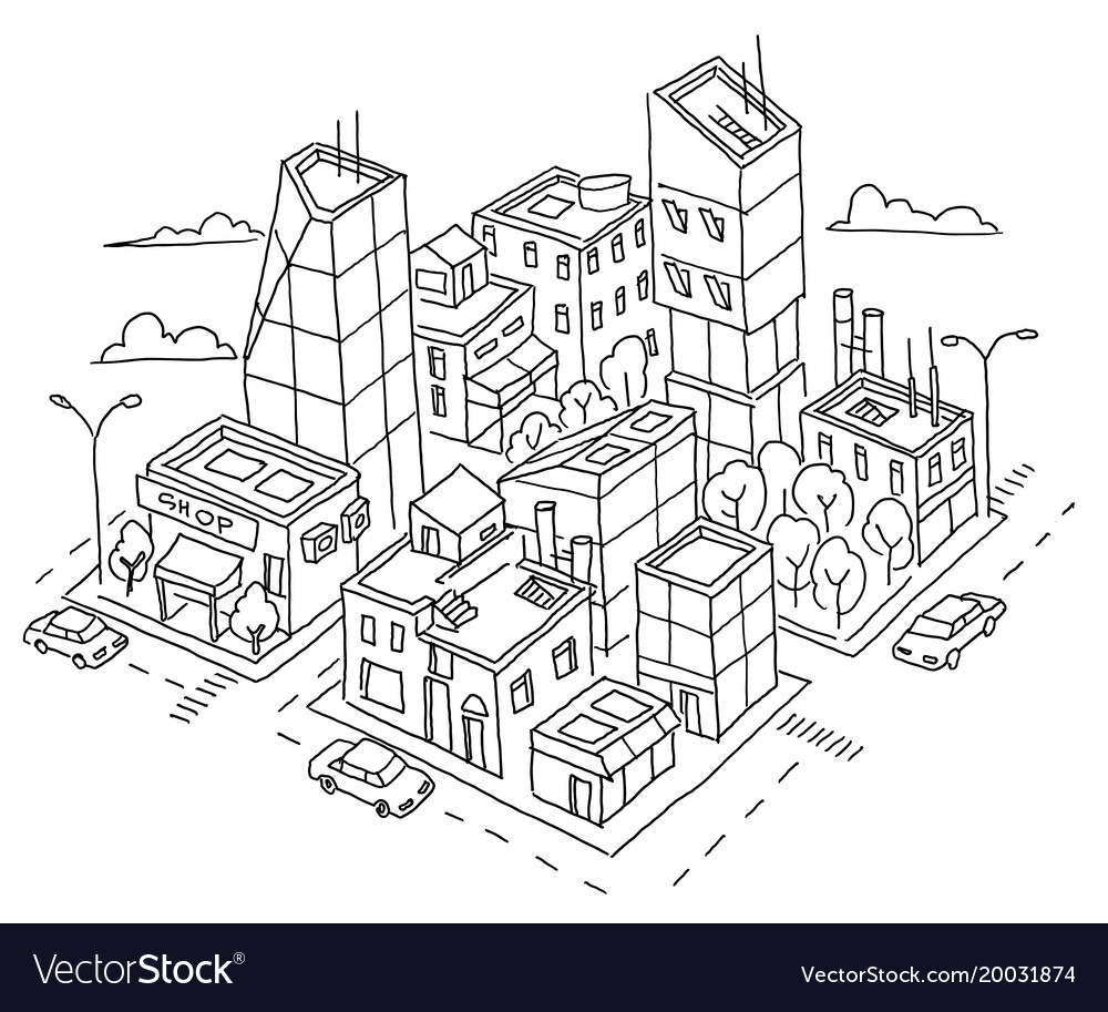 Isometric quarter big city sketch skyscrapers and.