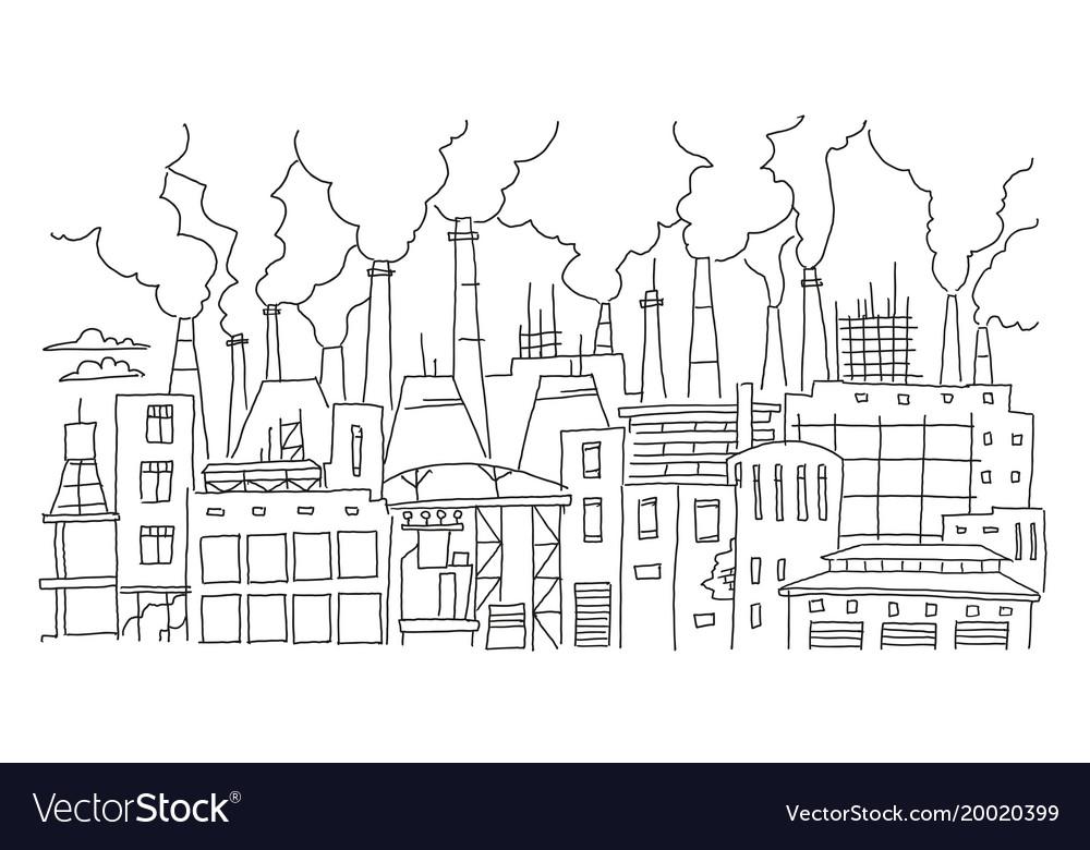 Industrial pollution big city panorama sketch.