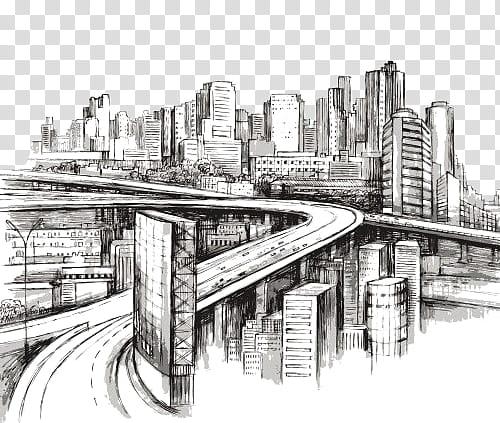 Doodle City s, building near road sketch art transparent.