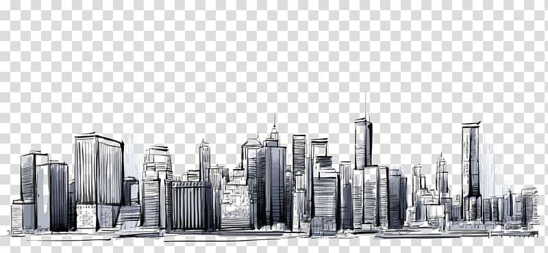 Manhattan Cities: Skylines Drawing, city, city sketch.
