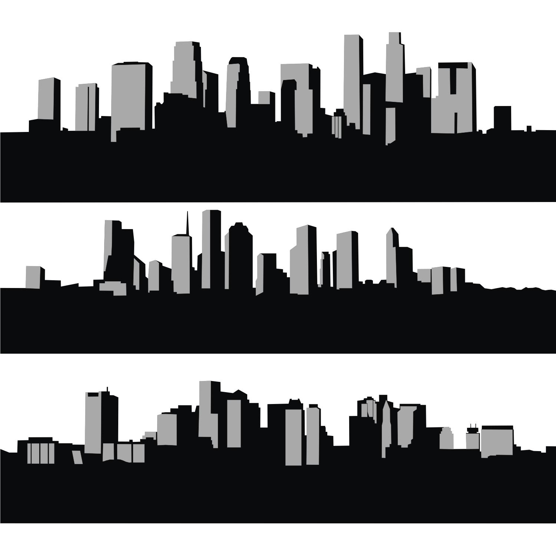 City skyline silhouette clip art.