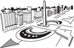 Clip Art Vector of Square in city..