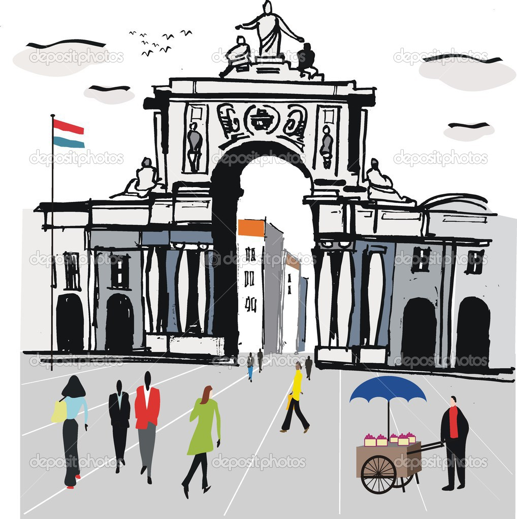 Vector illustration of Lisbon city square with old archway.