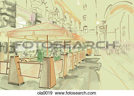 Stock Illustration of Outdoor patio seating of a restaurant in a.