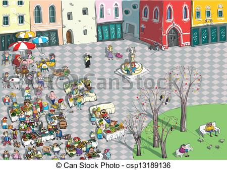 Vectors of Vibrant City Square Cartoon.