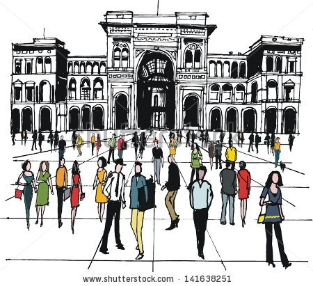 Vector Illustration People City Square Milan Stock Vector.