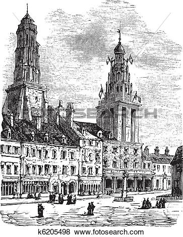 Clip Art of Calais city in France. City square, city hall and.