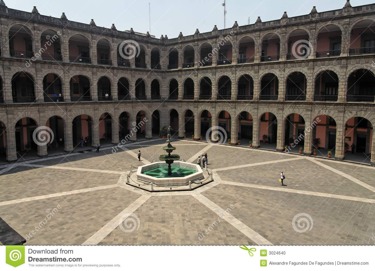 National Palace Inner Square Mexico City Stock Photo.