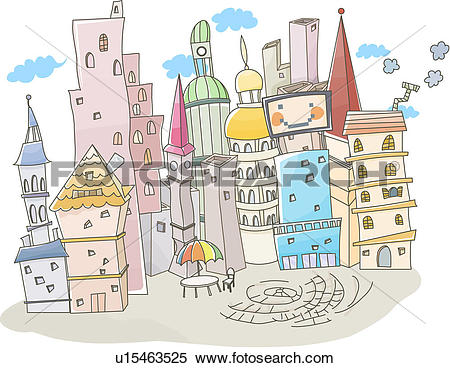 Stock Illustration of european architecture, building, village.