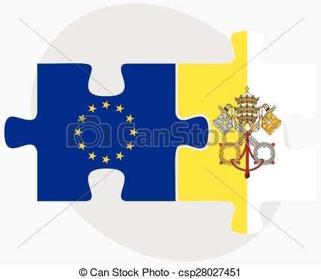 Clipart Vector of European Union and Holy See.