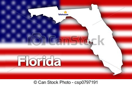 Clipart of Florida state contour with Capital City against blurred.