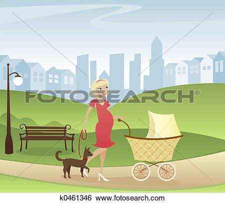 Stock Illustration of Stroll through the Park k0461346.