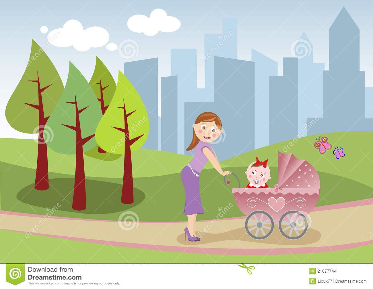 Mother And Baby Take A Stroll Stock Images.