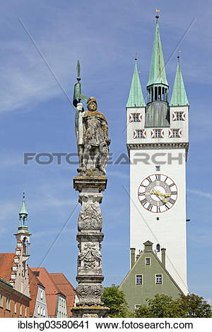 """Stock Photography of """"Fountain statue, Stadturm city Tower."""