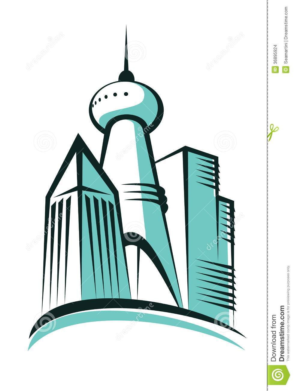 Modern City With A Communications Tower Stock Images.