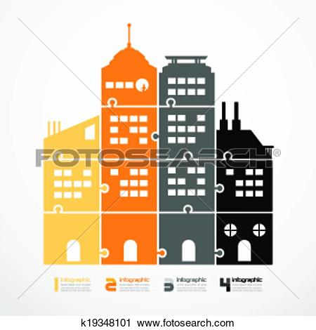 Clipart of infographic Template city tower jigsaw banner . concept.