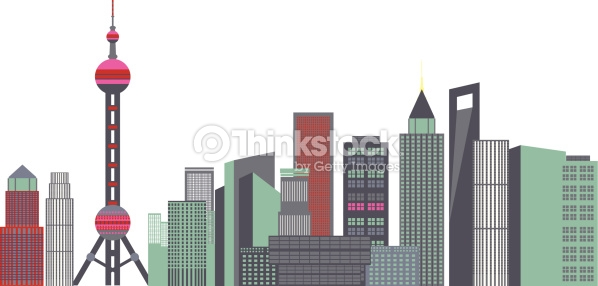 Skyscrapers In A City Oriental Pearl Tower Shanghai China Vector.