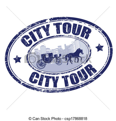 Vector Clip Art of City tour grunge rubber stamp on white.