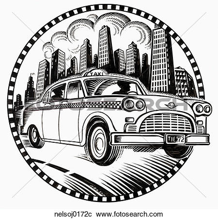 Stock Photography of cab driver, black and white, cab, building.