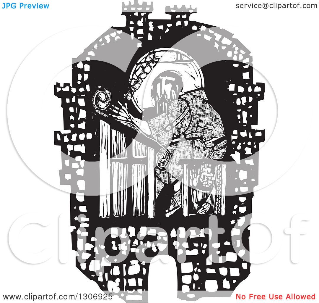 Clipart of a Black and White Woodcut Fortified City Walls Around a.