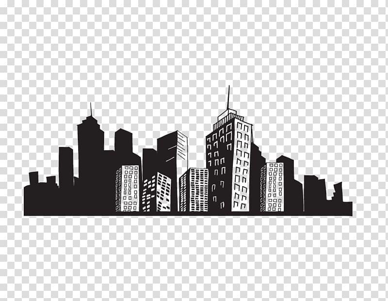Black and gray cityscape illustration, PicsArt Studio Desktop.