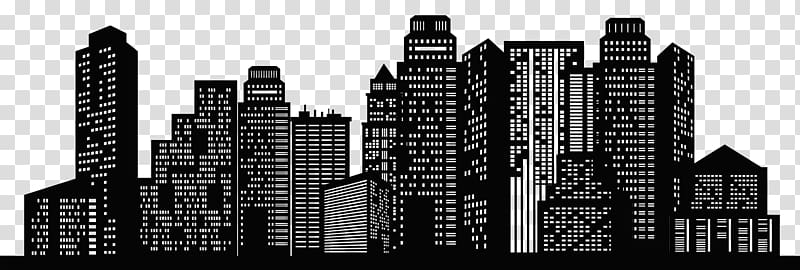 Black cityscape art, New York City Chicago Skyline.