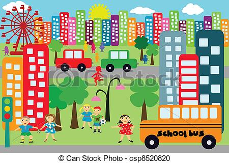 Vector Clipart of Doodle city for children csp8520820.