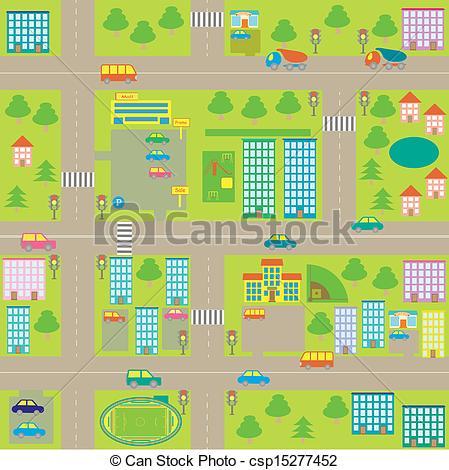 Clipart Vector of cartoon seamless city map.