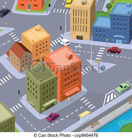 Clip Art Vector of Cartoon City Traffic.