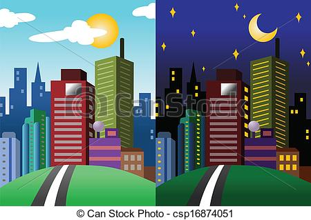 Clipart Vector of Day and night view of a modern city.