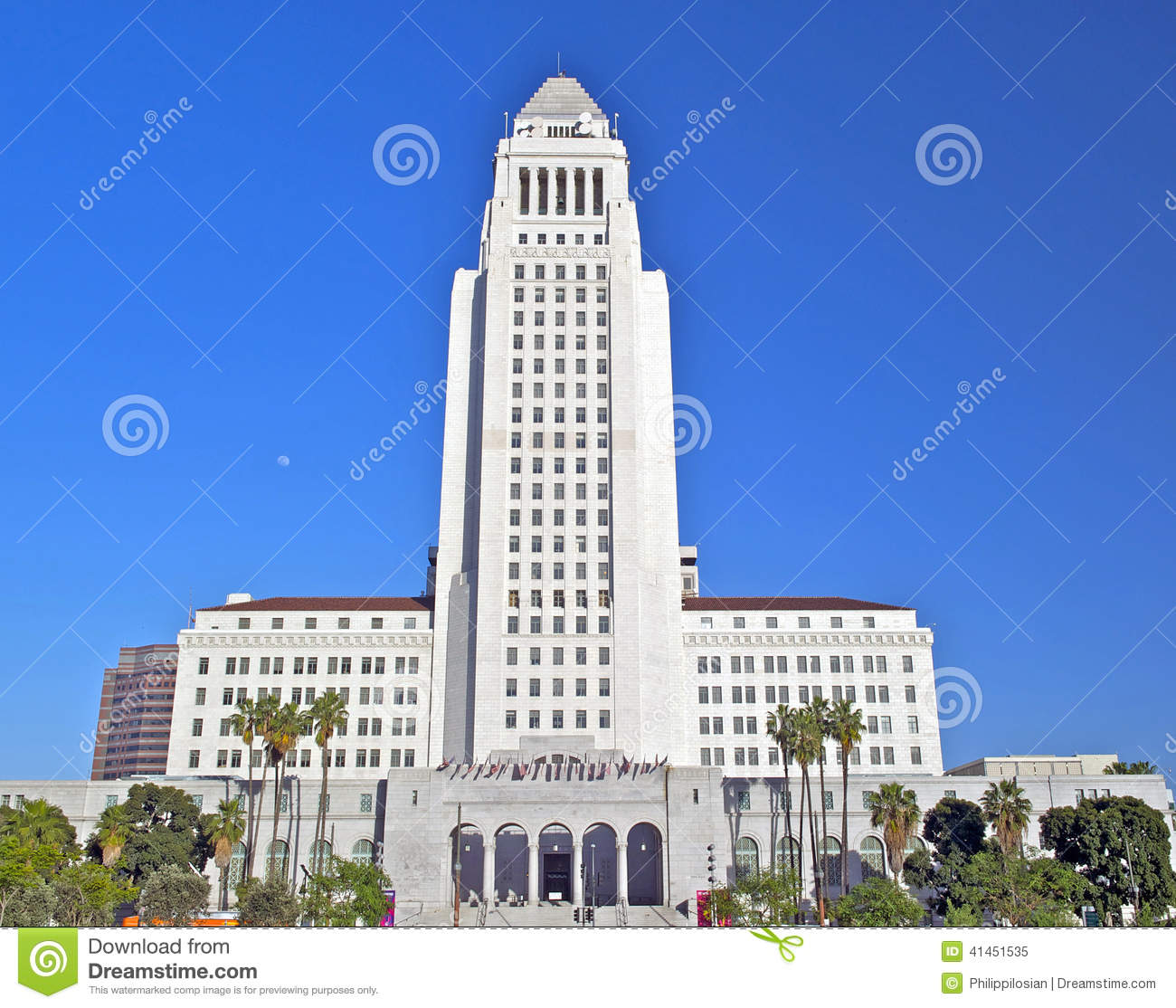 Los Angeles City Hall, Downtown Civic Center Stock Photo.