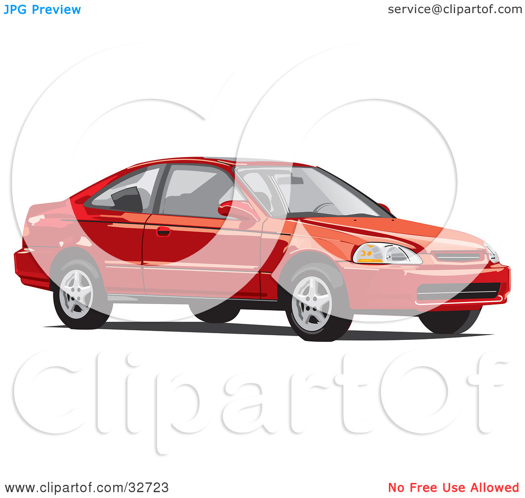 Clipart Illustration of a Red Two Door Honda Civic Coupe Car by.