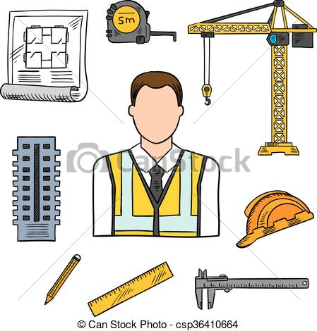 Clip Art Vector of Engineer sketch icon for civil engineering.