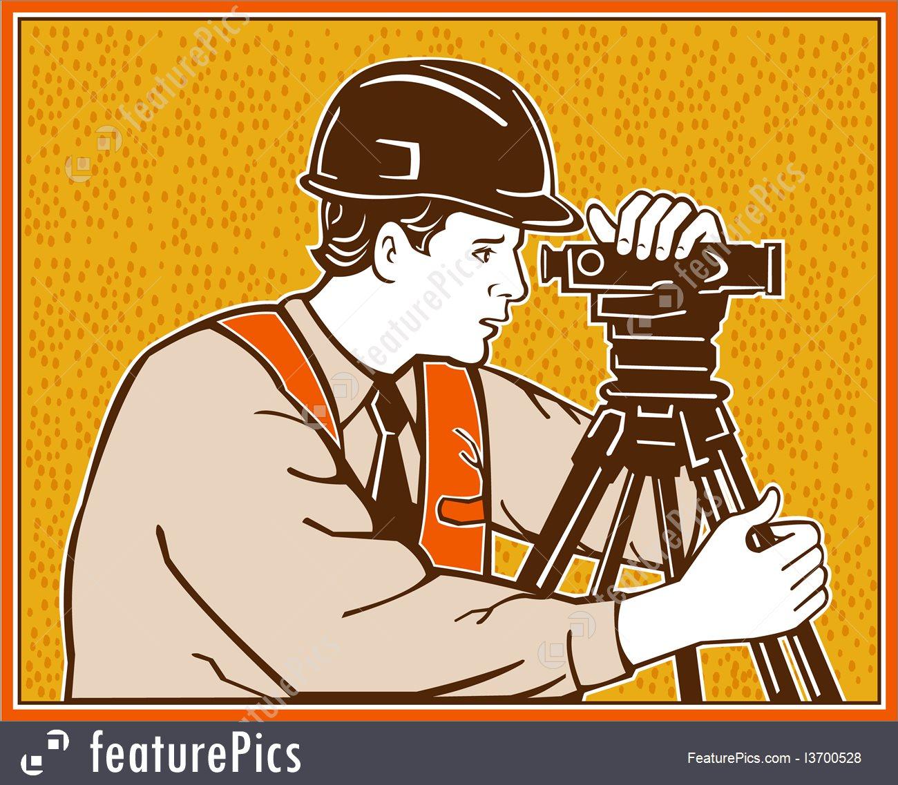 Surveyor Geodetic Civil Engineer Retro Illustration.