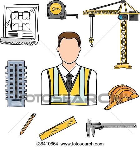 Engineer sketch icon for civil engineering design Clipart.