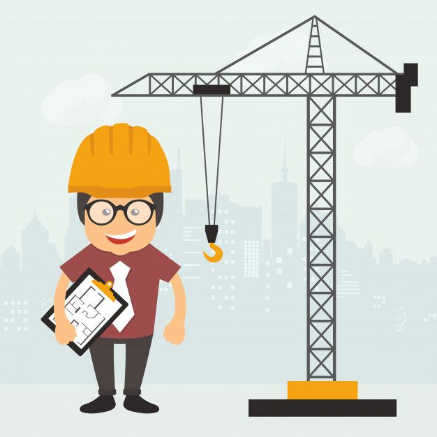 Engineer on construction site Free Vector.