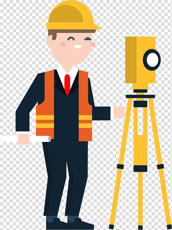 Man standing near theodolite, Civil Engineering Surveyor.