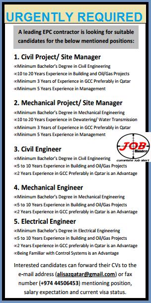 Civil Engineer/Mechanical Engineer/Electrical Engineer Job Vacancies.