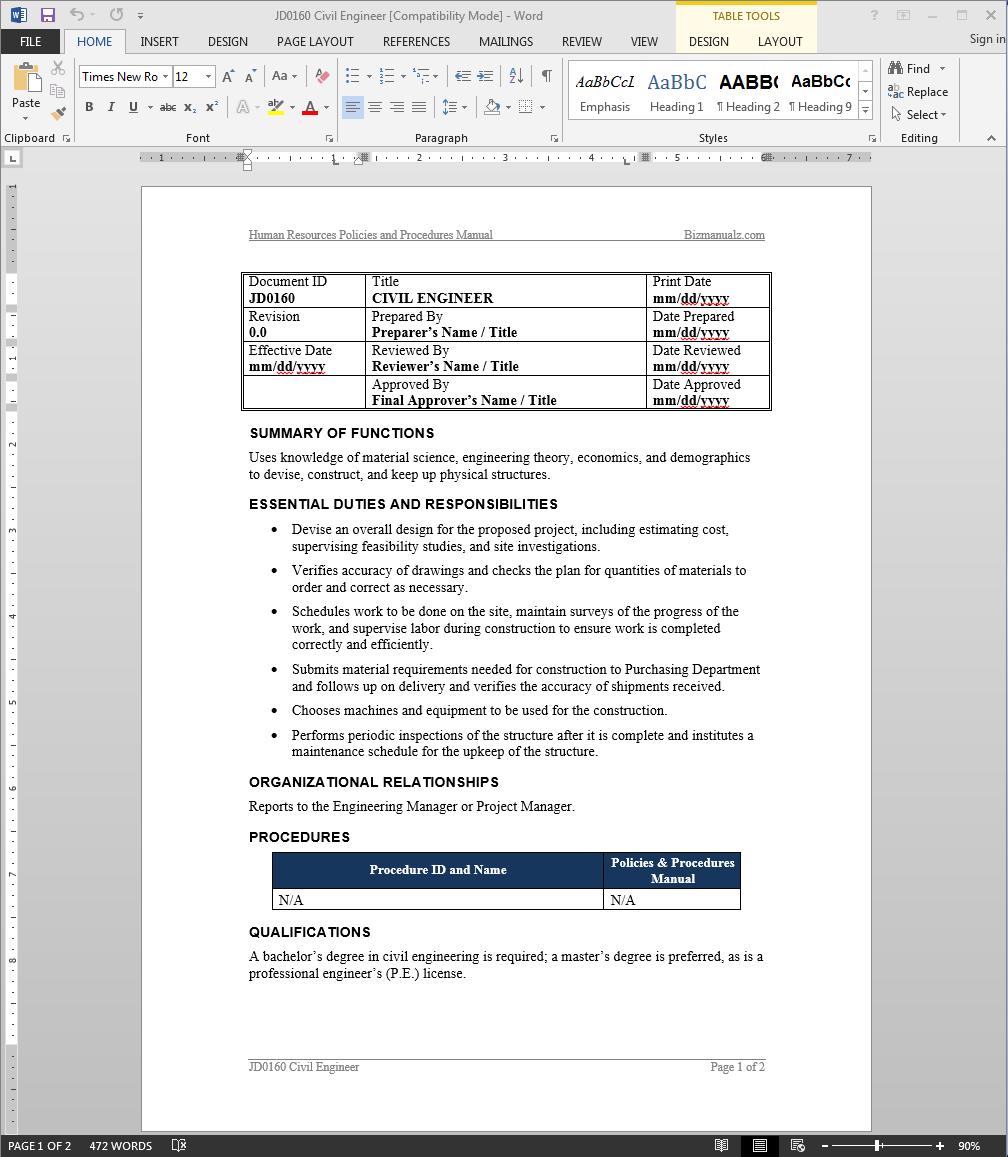 Civil Engineer Job Description.