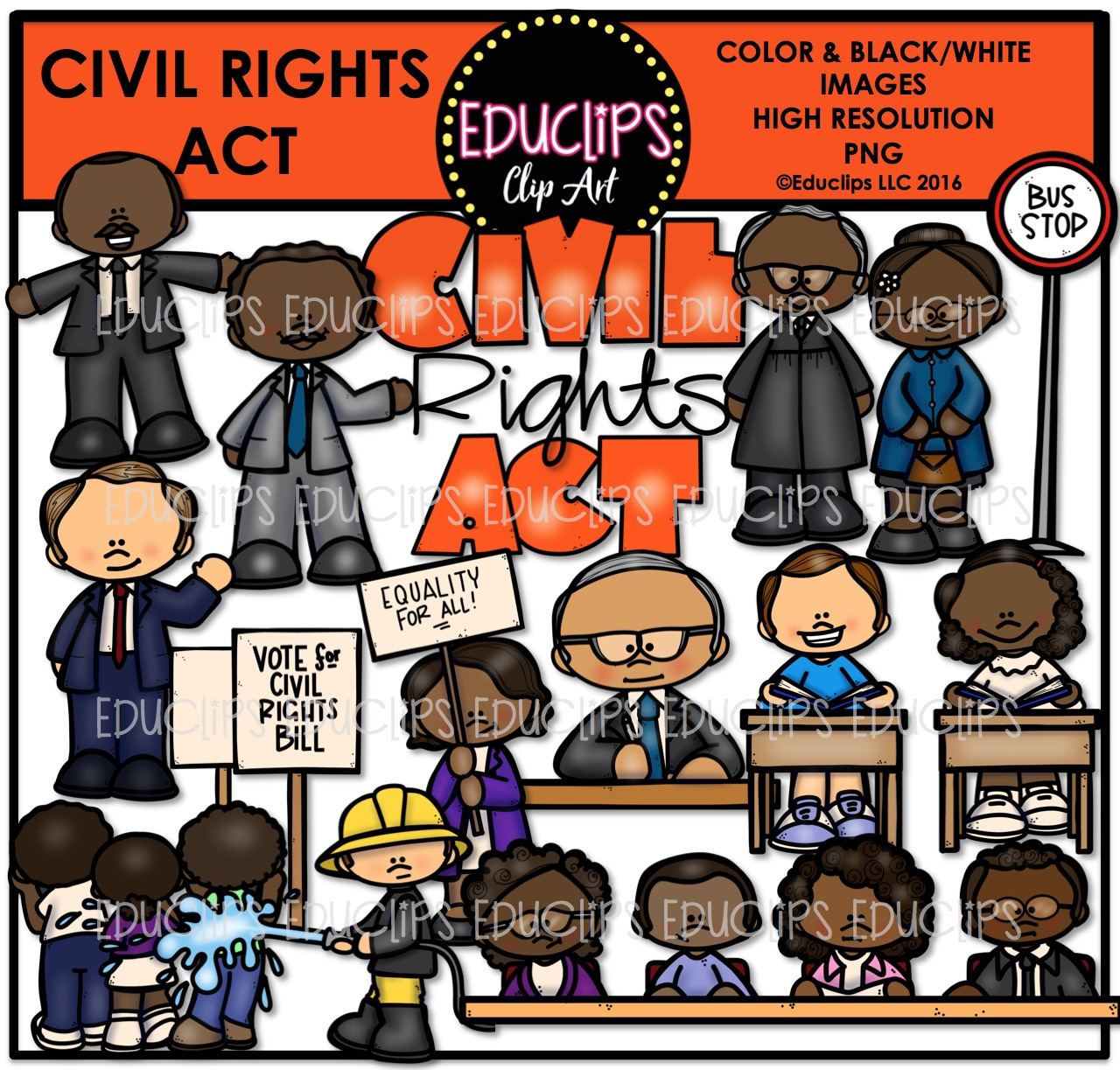 Civil Rights Act Clip Art Bundle (Color and B&W).