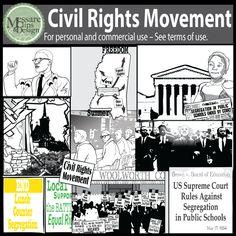Civil Rights Movement Clip Art with MLK Jr, Malcolm X {Messare.